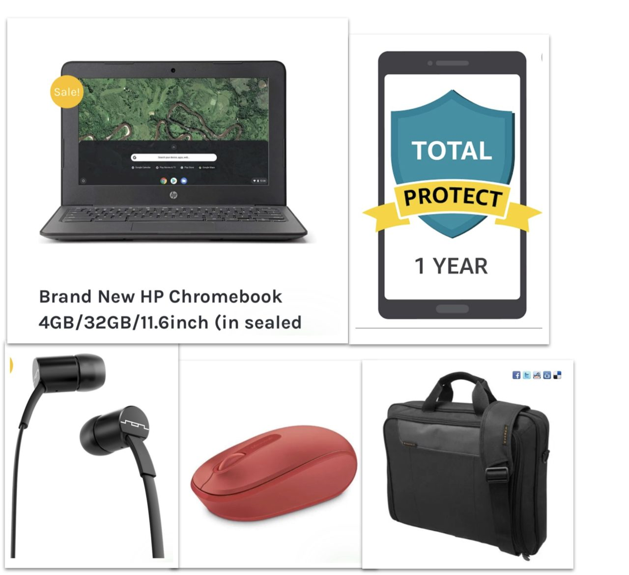 New HP Chromebook PREMIUM Bundle - Chromebook+Bag+Ear Phone+Mouse+12 Month Damage Protection