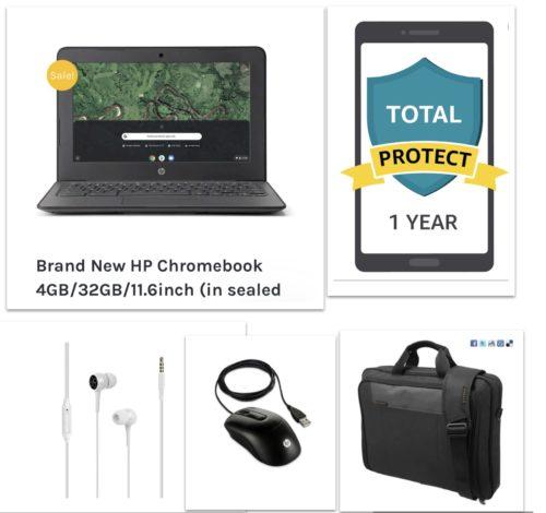 New HP Chromebook Bundle – Chromebook+Bag+Ear Phone+Mouse+12 Month Damage Protection