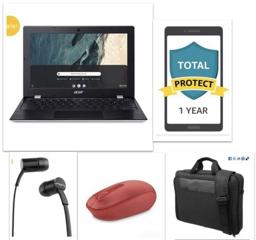 New Acer 11.6 Chromebook PREMIUM Bundle – Chromebook+Bag+Ear Phone+Mouse+12 Month Damage Protection
