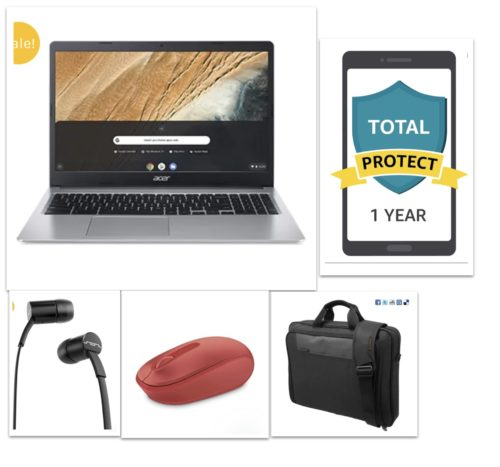 New Acer 15.6 Chromebook PREMIUM Bundle – Chromebook+Bag+Ear Phone+Mouse+12 Month Damage Protection