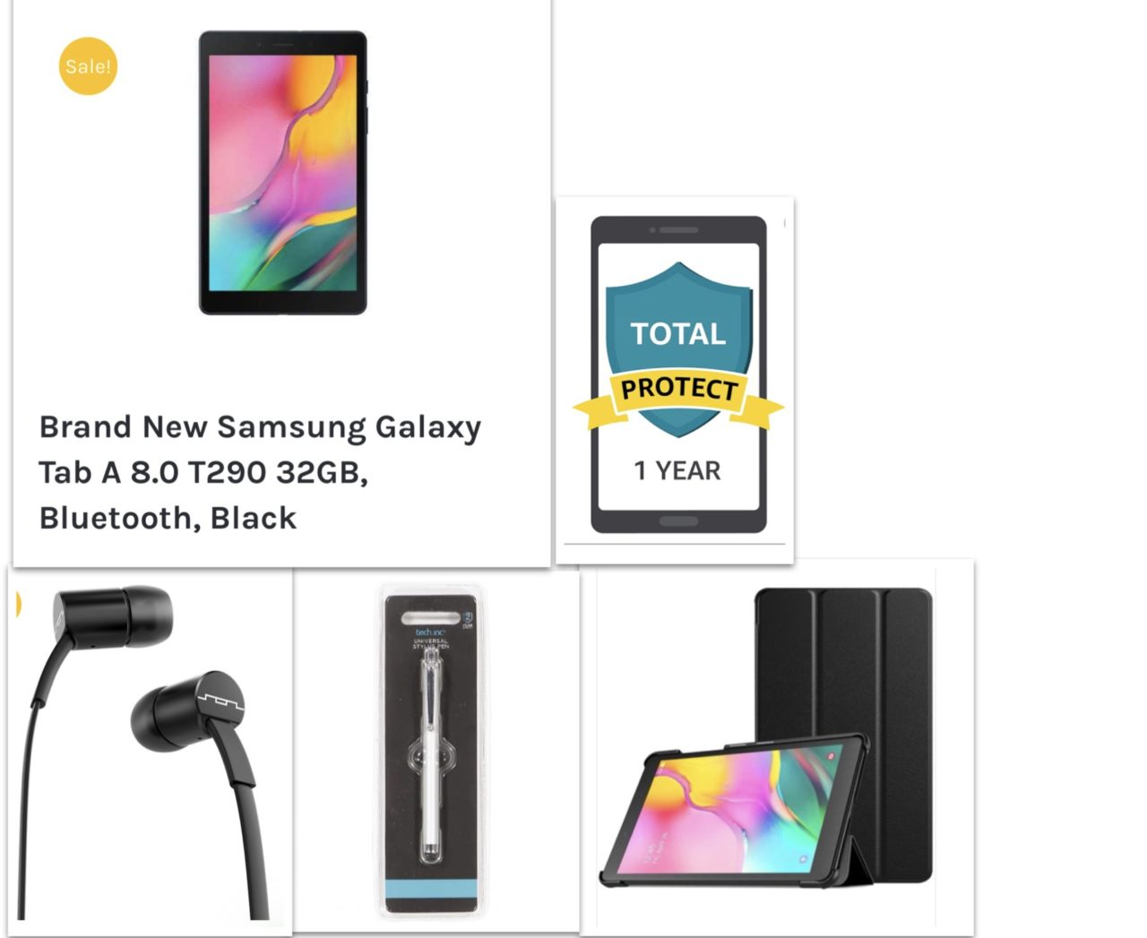New Samsung Tablet 8th Gen PREMIUM Bundle – Samsung Tablet 8' + Premium Case +SOL ear plugs+Touch Pen+12 Month Damage Protection