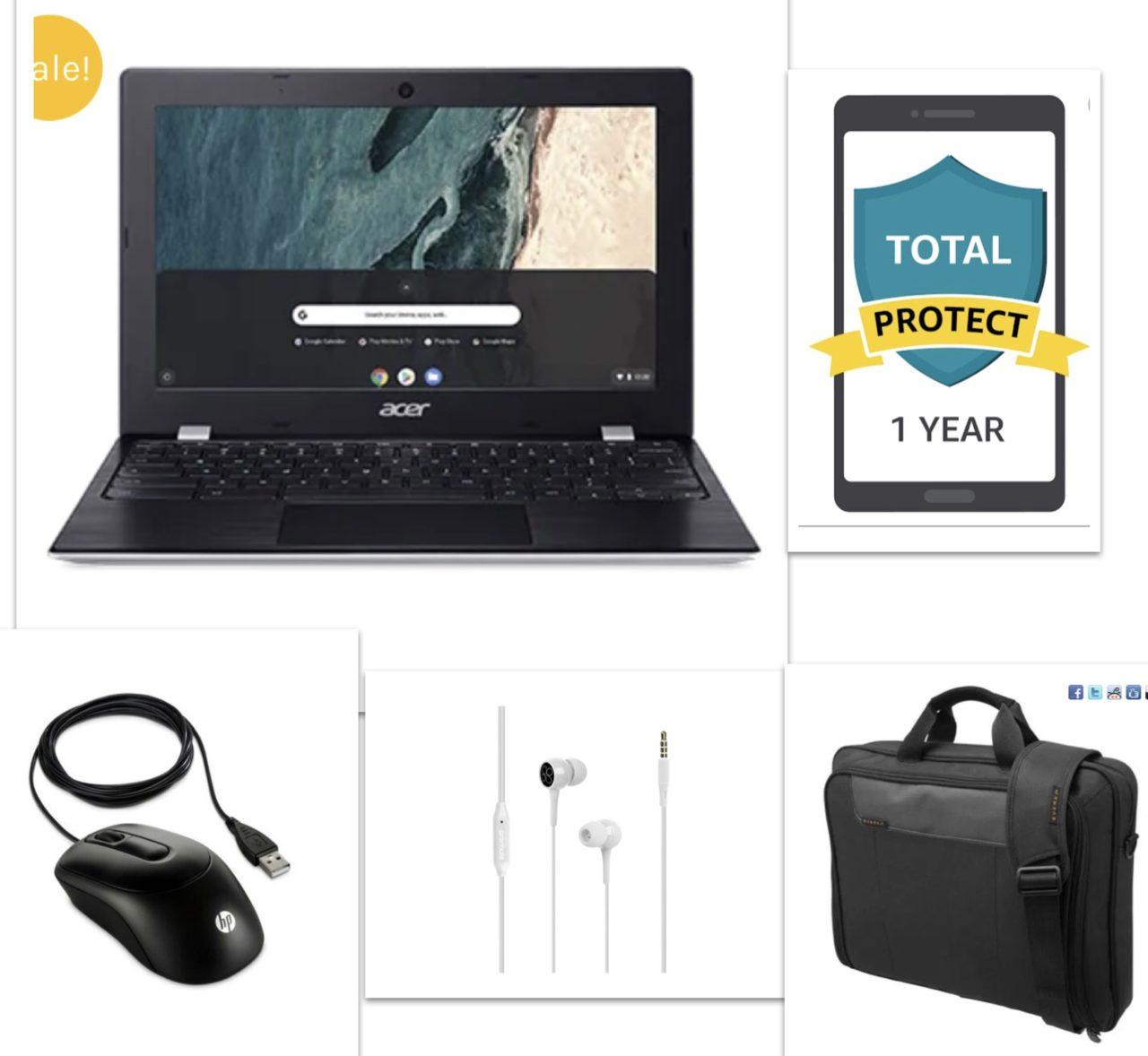 New Acer 11.6 Chromebook Bundle – Chromebook+Bag+Ear Phone+Mouse+12 Month Damage Protection