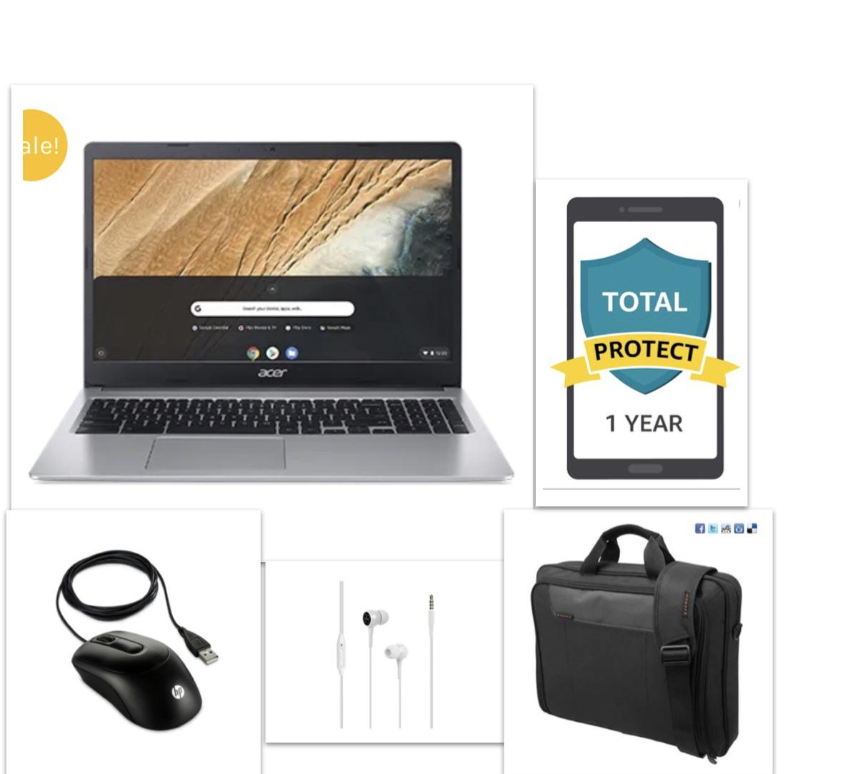 New Acer 15.6 Chromebook Bundle – Chromebook+Bag+Ear Phone+Mouse+12 Month Damage Protection